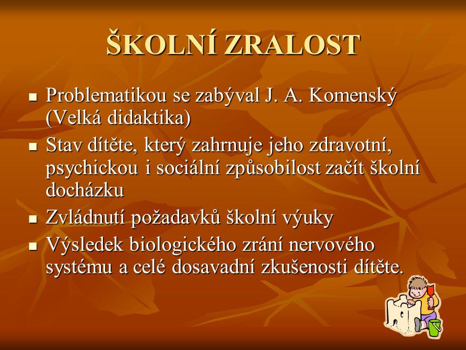 ŠKOLNÍ ZRALOST Problematikou se zabýval J. A. Komenský (Velká didaktika)