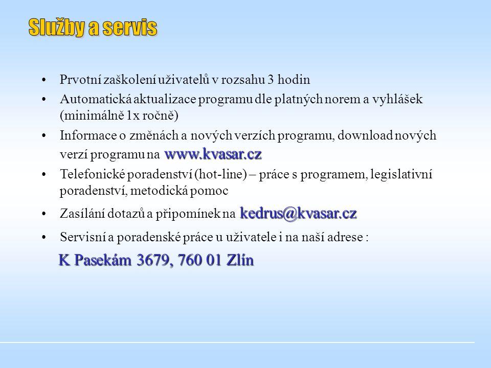 Služby a servis K Pasekám 3679, 760 01 Zlín