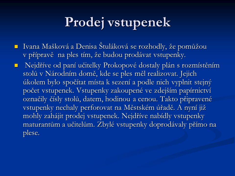 Prodej vstupenek Ivana Mašková a Denisa Štuláková se rozhodly, že pomůžou v přípravě na ples tím, že budou prodávat vstupenky.