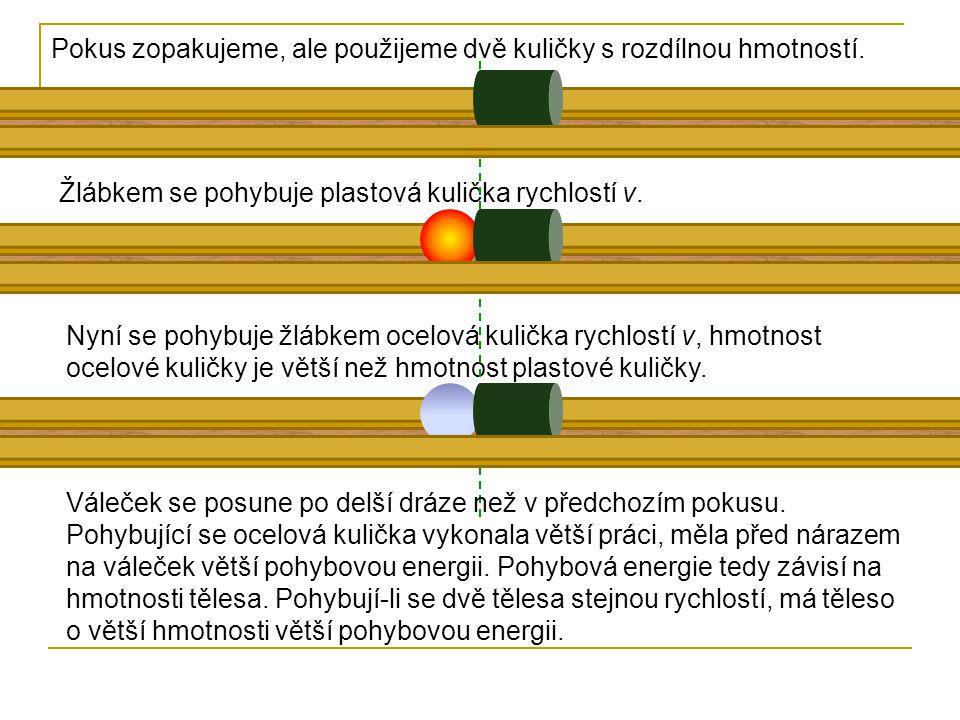 Pokus zopakujeme, ale použijeme dvě kuličky s rozdílnou hmotností.