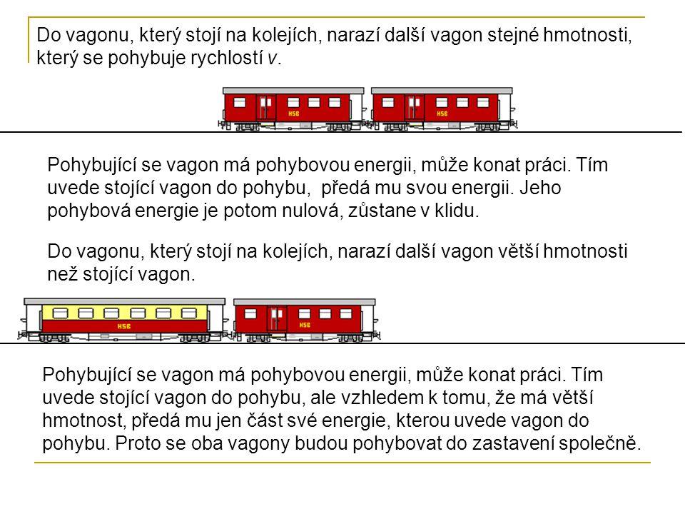 Do vagonu, který stojí na kolejích, narazí další vagon stejné hmotnosti, který se pohybuje rychlostí v.