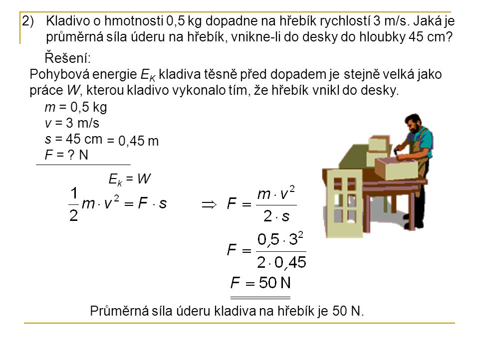 Kladivo o hmotnosti 0,5 kg dopadne na hřebík rychlostí 3 m/s