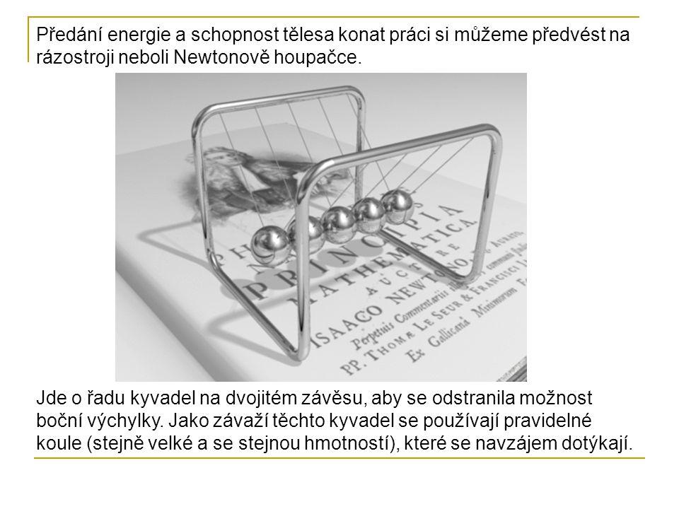 Předání energie a schopnost tělesa konat práci si můžeme předvést na rázostroji neboli Newtonově houpačce.