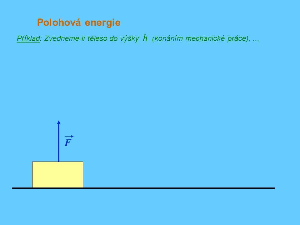 Polohová energie Příklad: Zvedneme-li těleso do výšky h (konáním mechanické práce), ... F