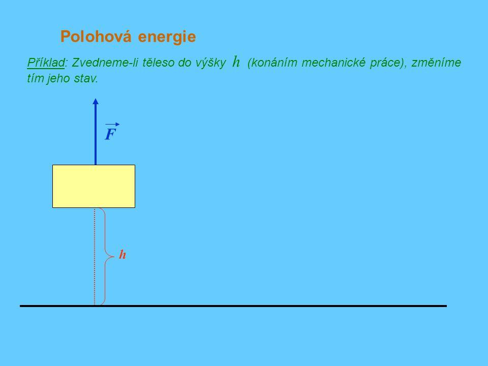 Polohová energie Příklad: Zvedneme-li těleso do výšky h (konáním mechanické práce), změníme tím jeho stav.