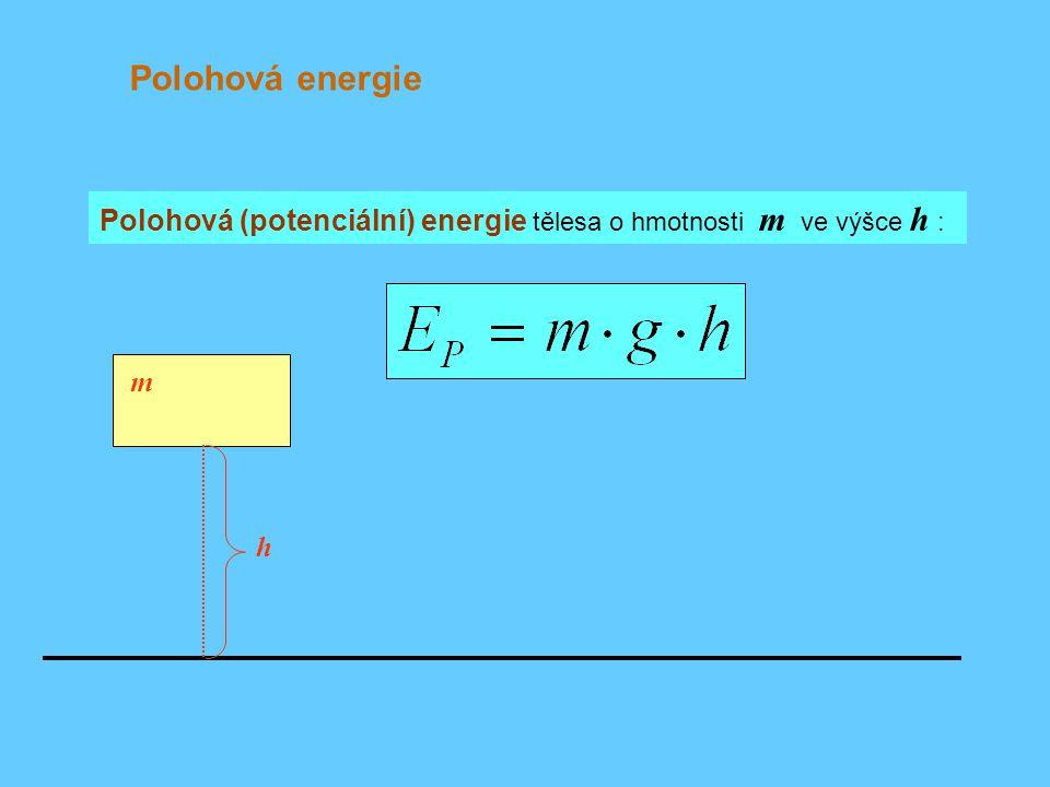 Polohová energie Polohová (potenciální) energie tělesa o hmotnosti m ve výšce h : m h