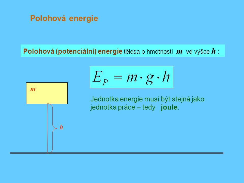 Polohová energie Polohová (potenciální) energie tělesa o hmotnosti m ve výšce h : m.
