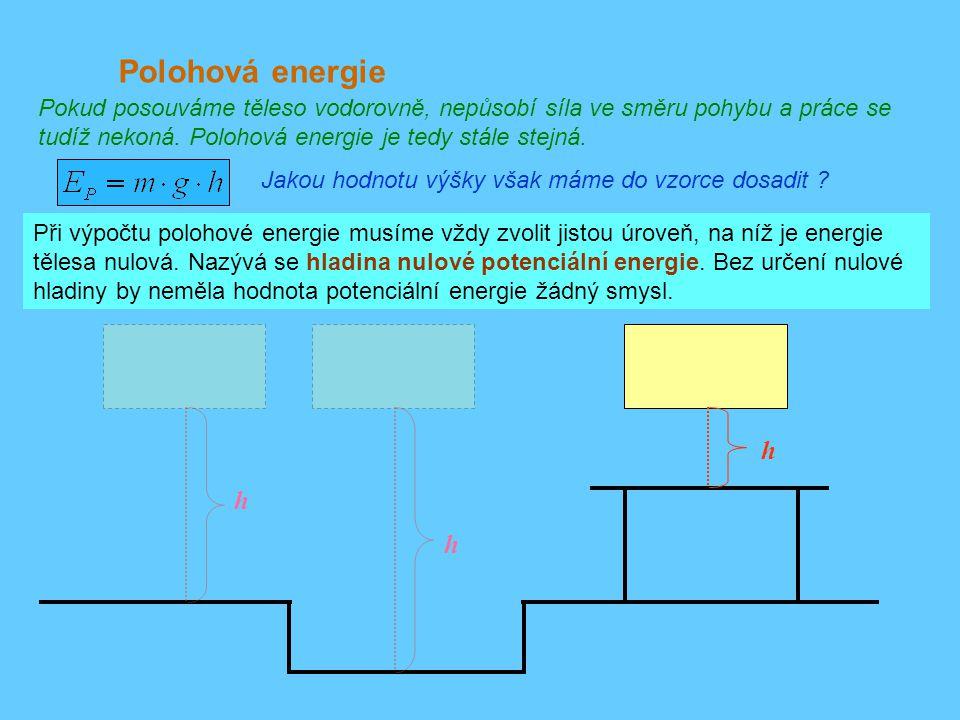 Polohová energie Pokud posouváme těleso vodorovně, nepůsobí síla ve směru pohybu a práce se tudíž nekoná. Polohová energie je tedy stále stejná.