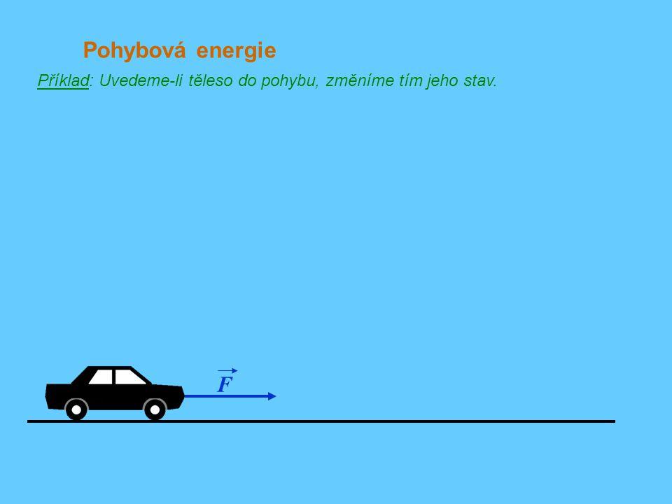 Pohybová energie Příklad: Uvedeme-li těleso do pohybu, změníme tím jeho stav. F