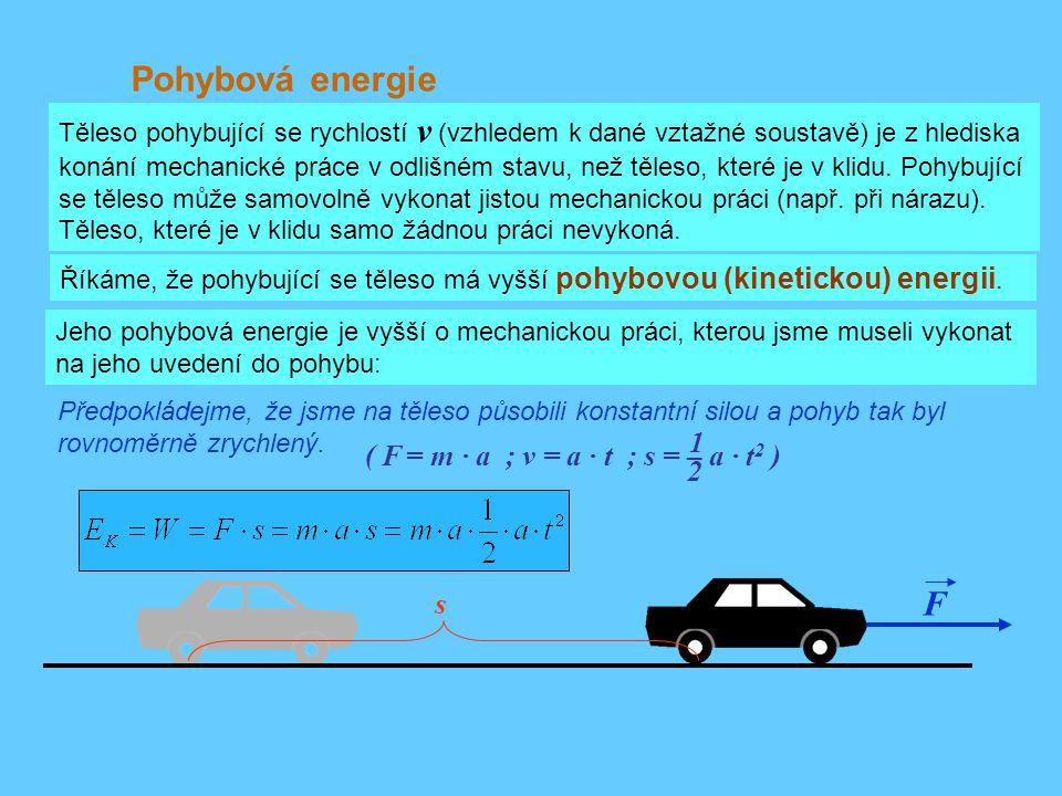 Pohybová energie F 1 ( F = m · a ; v = a · t ; s = – a · t2 ) 2 s