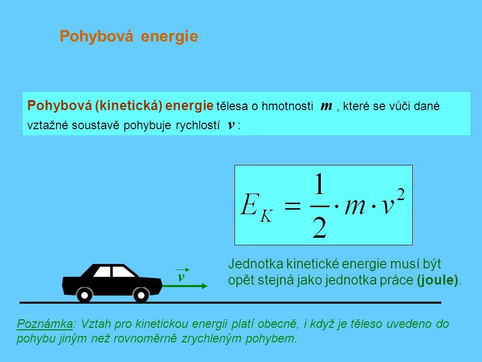 Pohybová energie Pohybová (kinetická) energie tělesa o hmotnosti m , které se vůči dané vztažné soustavě pohybuje rychlostí v :