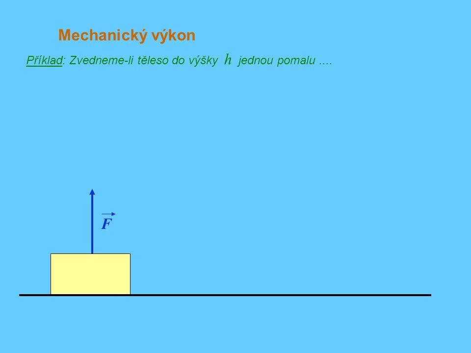 Mechanický výkon Příklad: Zvedneme-li těleso do výšky h jednou pomalu .... F