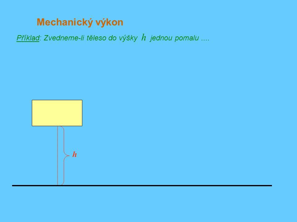 Mechanický výkon Příklad: Zvedneme-li těleso do výšky h jednou pomalu .... h