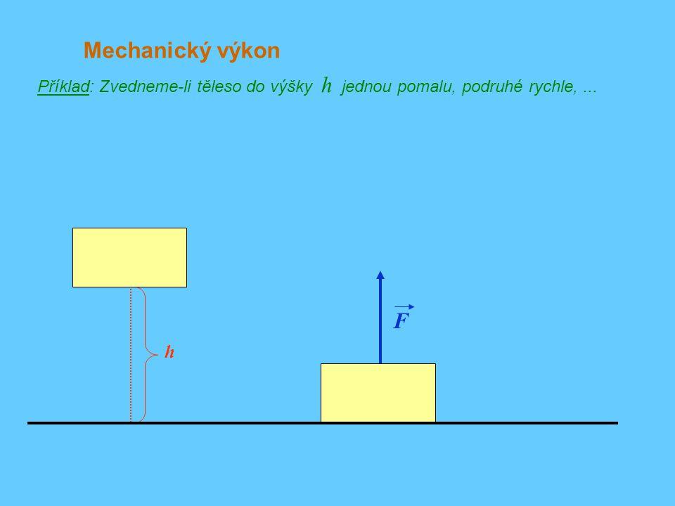 Mechanický výkon Příklad: Zvedneme-li těleso do výšky h jednou pomalu, podruhé rychle, ... F h