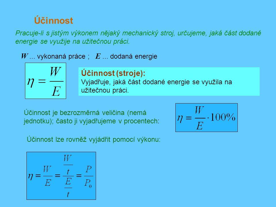 Účinnost W ... vykonaná práce ; E ... dodaná energie