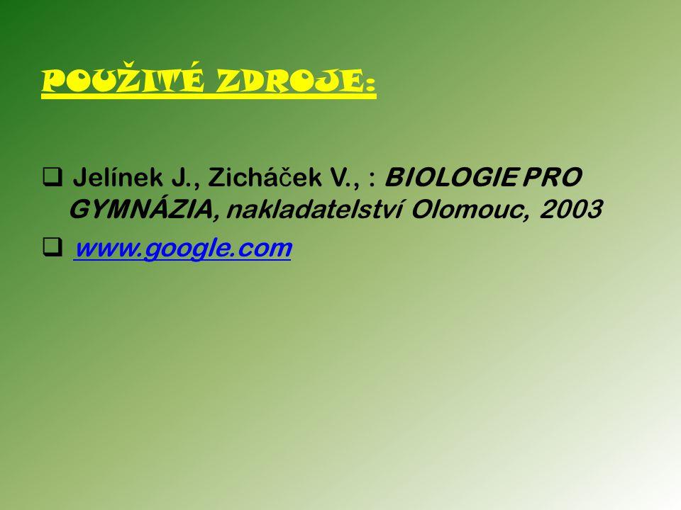 POUŽITÉ ZDROJE: Jelínek J., Zicháček V., : BIOLOGIE PRO GYMNÁZIA, nakladatelství Olomouc, 2003.