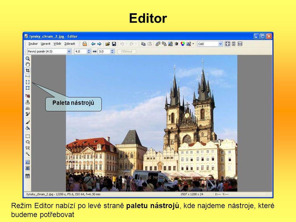 Editor Paleta nástrojů.