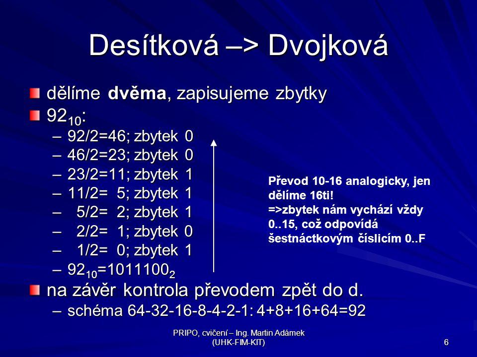 Desítková –> Dvojková