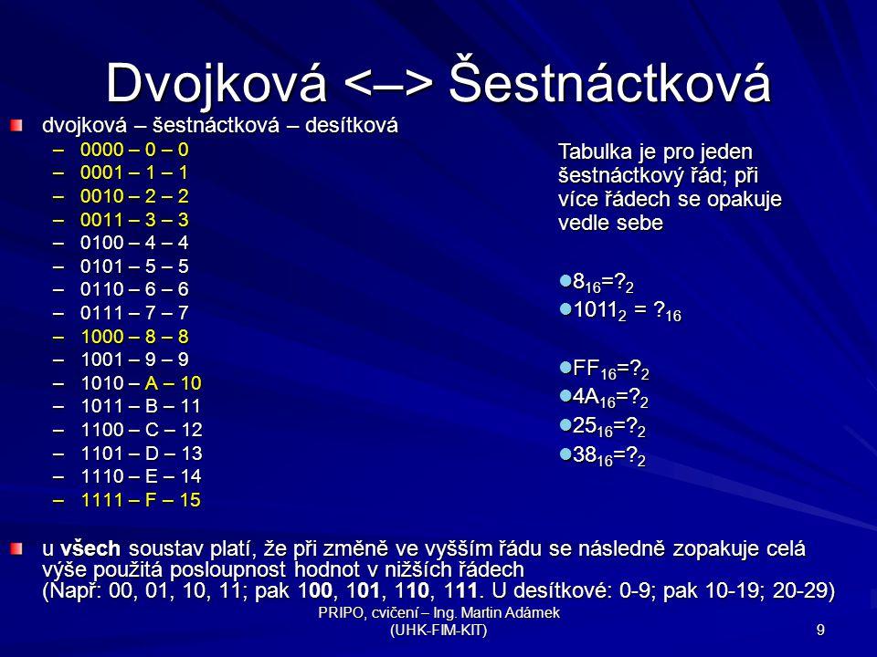 Dvojková <–> Šestnáctková