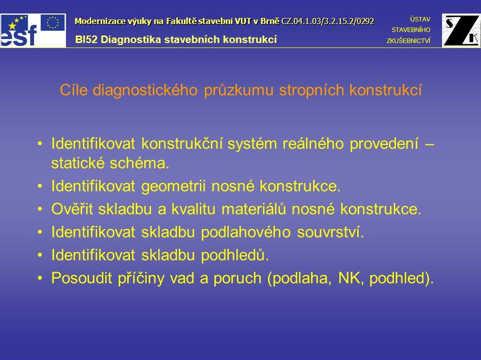 Cíle diagnostického průzkumu stropních konstrukcí
