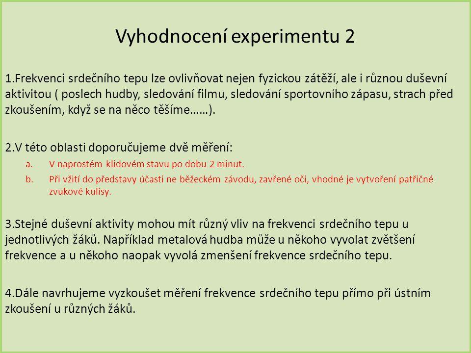 Vyhodnocení experimentu 2