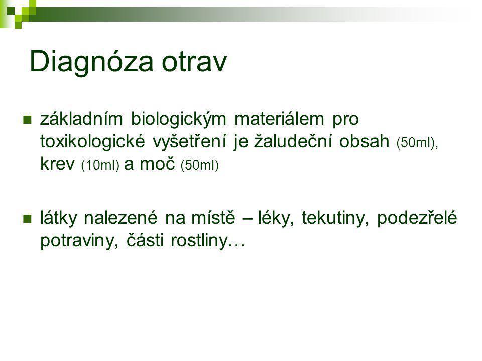 Diagnóza otrav základním biologickým materiálem pro toxikologické vyšetření je žaludeční obsah (50ml), krev (10ml) a moč (50ml)