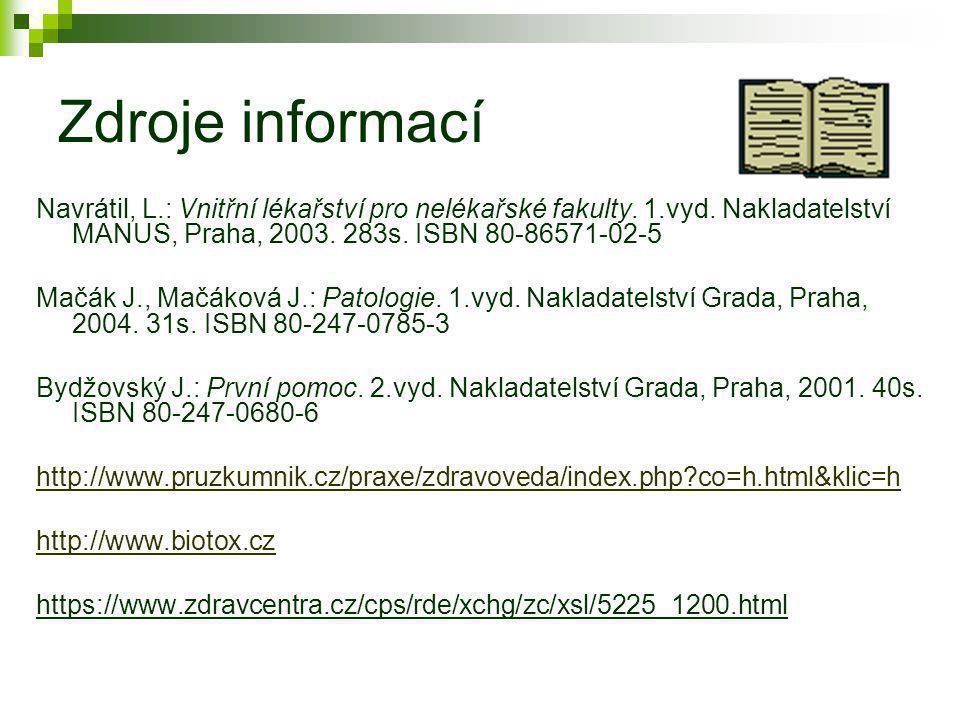 Zdroje informací Navrátil, L.: Vnitřní lékařství pro nelékařské fakulty. 1.vyd. Nakladatelství MANUS, Praha, 2003. 283s. ISBN 80-86571-02-5.