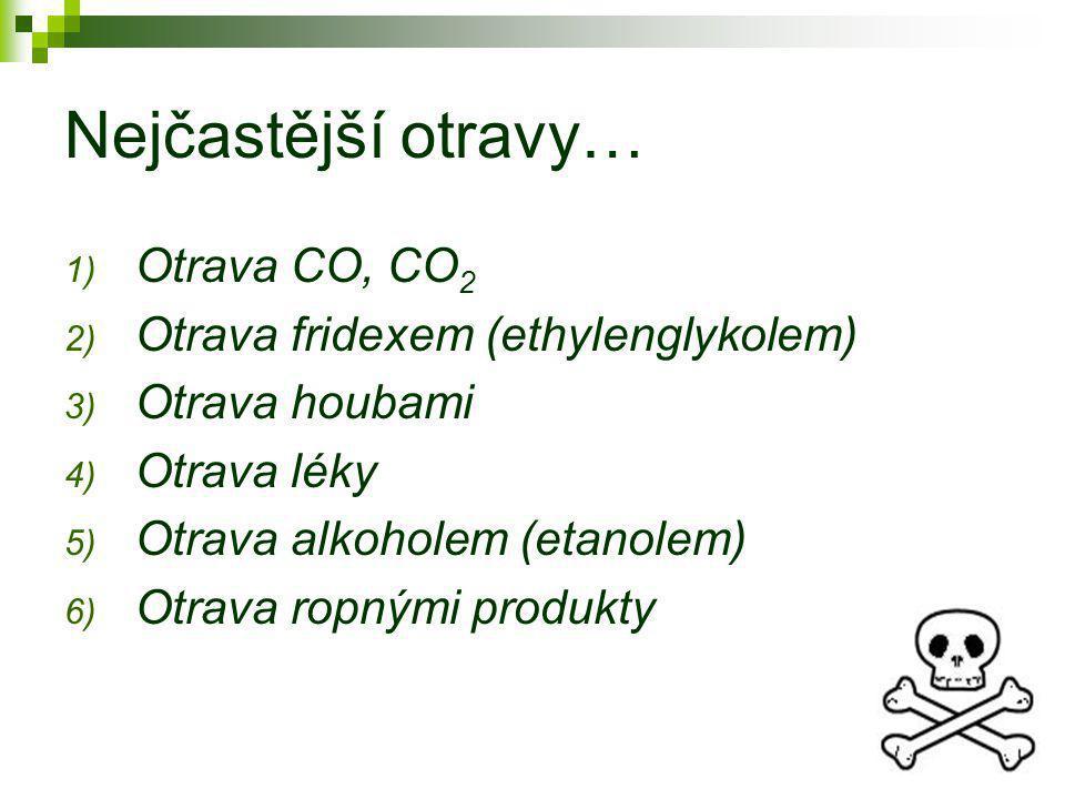 Nejčastější otravy… Otrava CO, CO2 Otrava fridexem (ethylenglykolem)