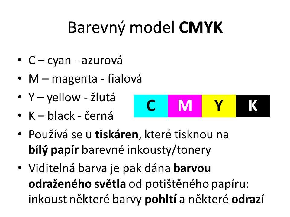 Barevný model CMYK C – cyan - azurová M – magenta - fialová