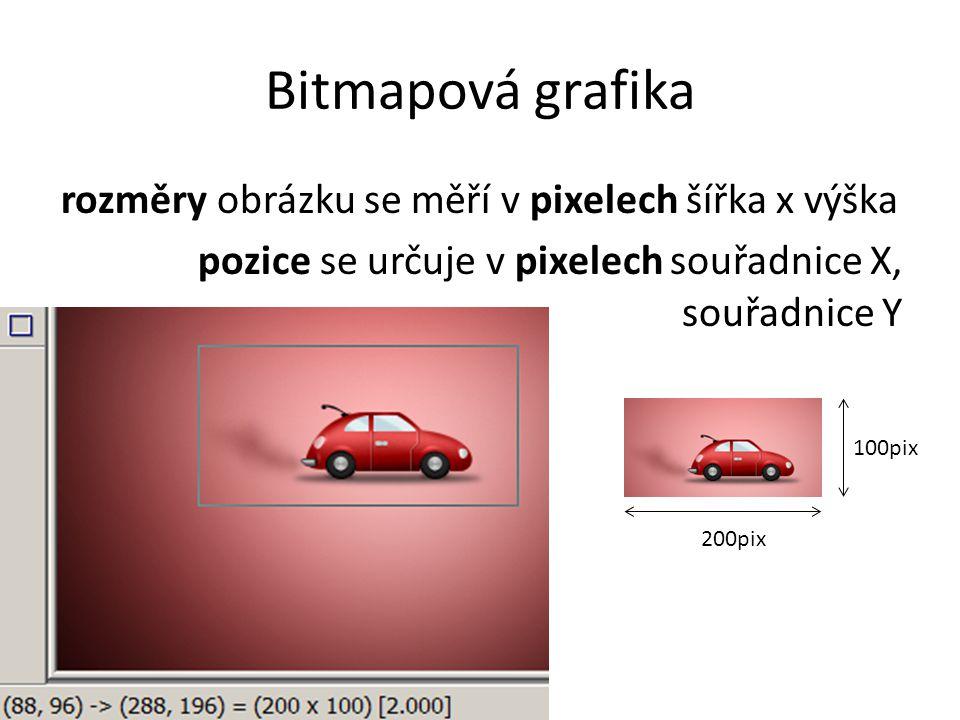 Bitmapová grafika rozměry obrázku se měří v pixelech šířka x výška pozice se určuje v pixelech souřadnice X, souřadnice Y