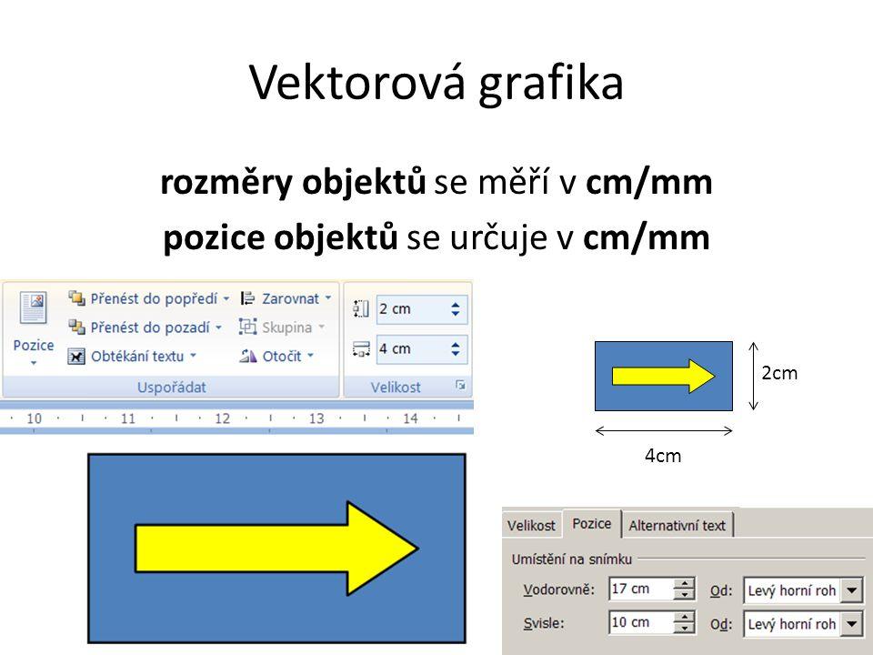 rozměry objektů se měří v cm/mm pozice objektů se určuje v cm/mm