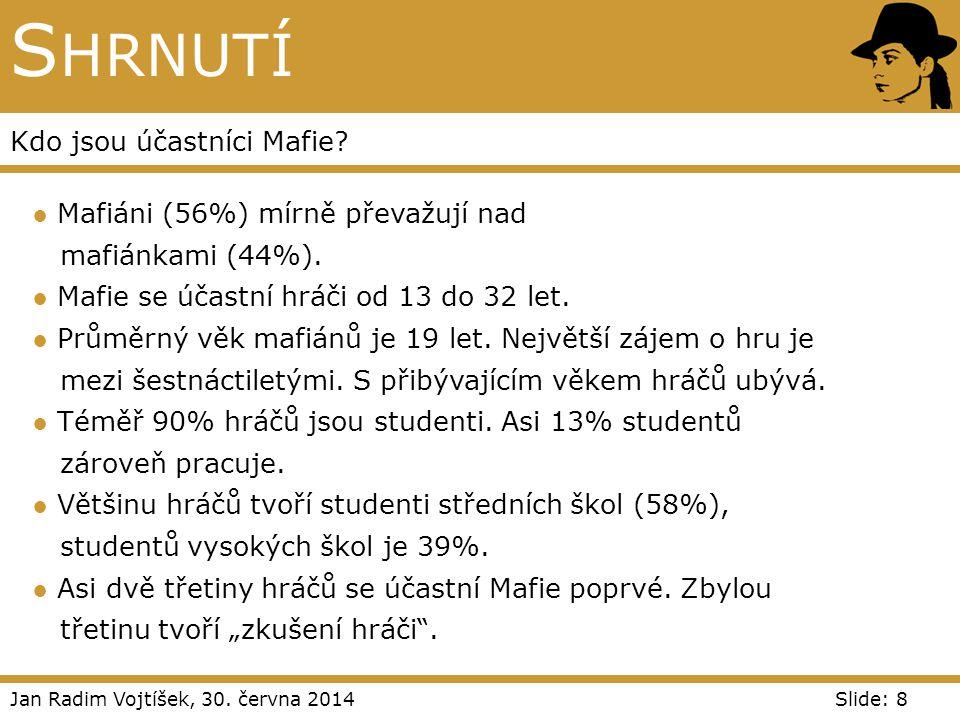 Shrnutí Kdo jsou účastníci Mafie Mafiáni (56%) mírně převažují nad