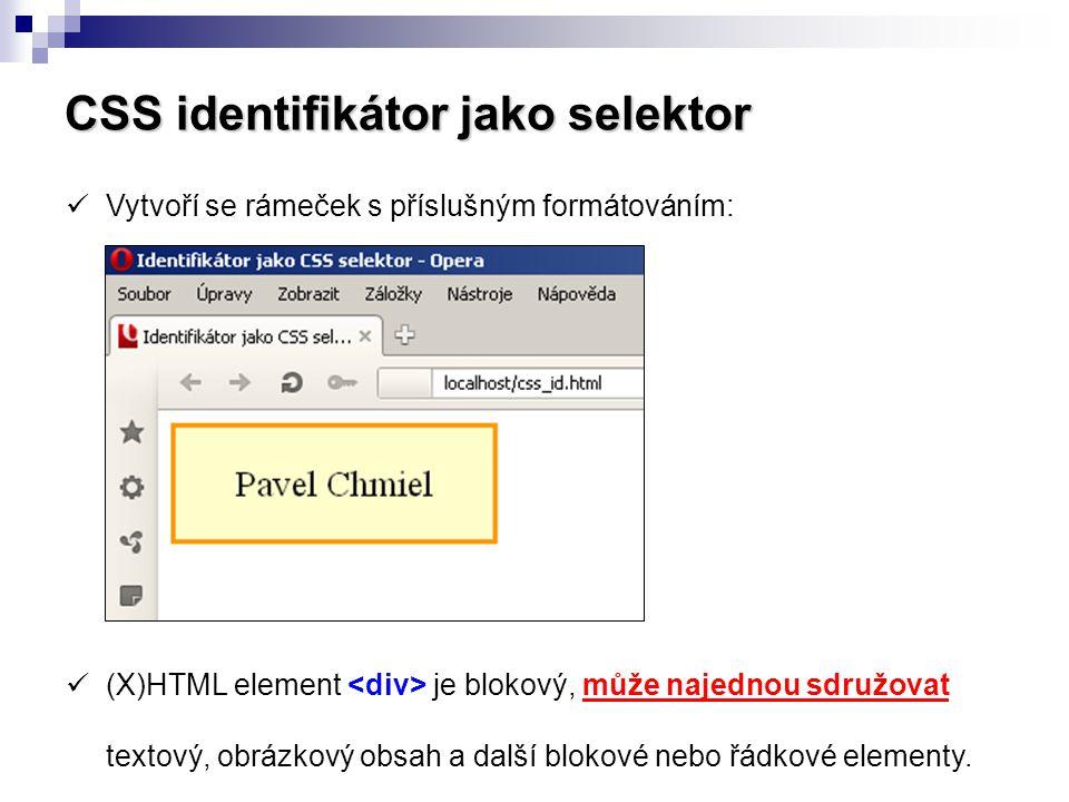 CSS identifikátor jako selektor