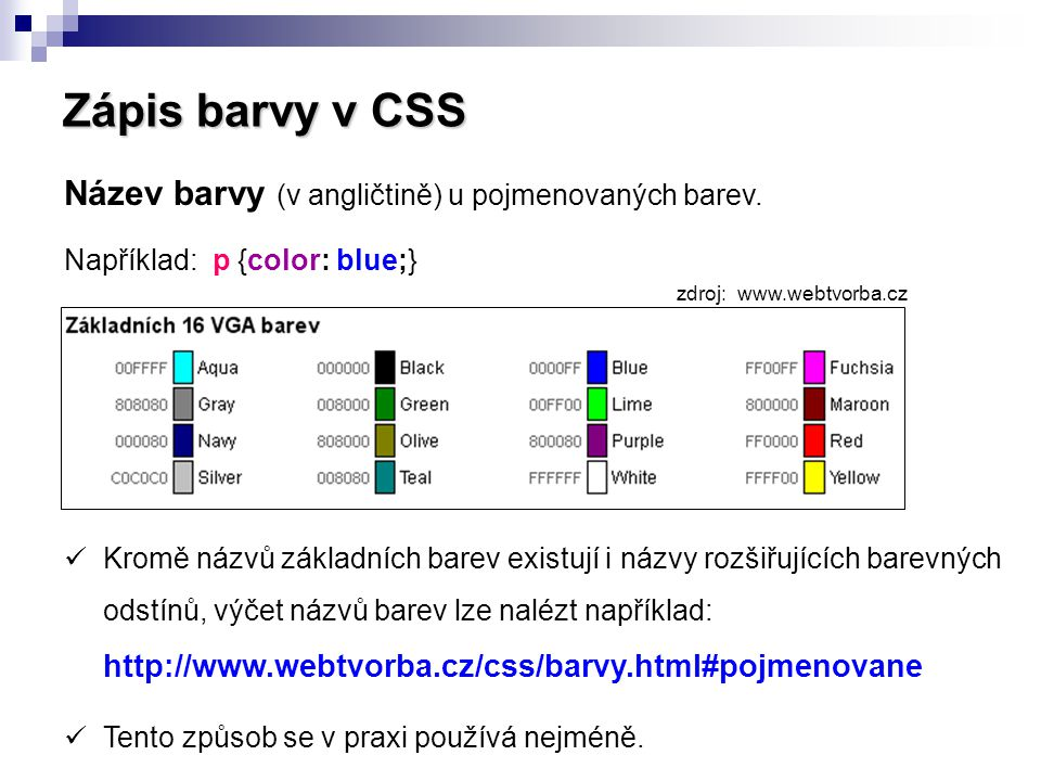 Zápis barvy v CSS Název barvy (v angličtině) u pojmenovaných barev.