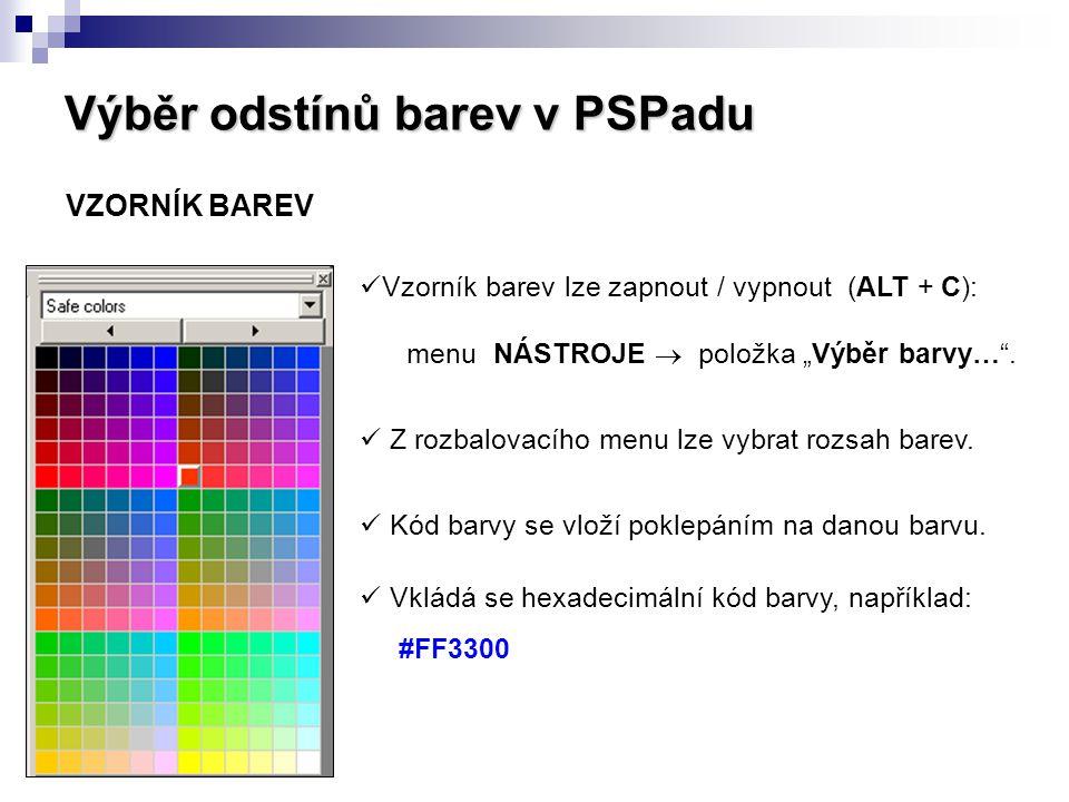 Výběr odstínů barev v PSPadu