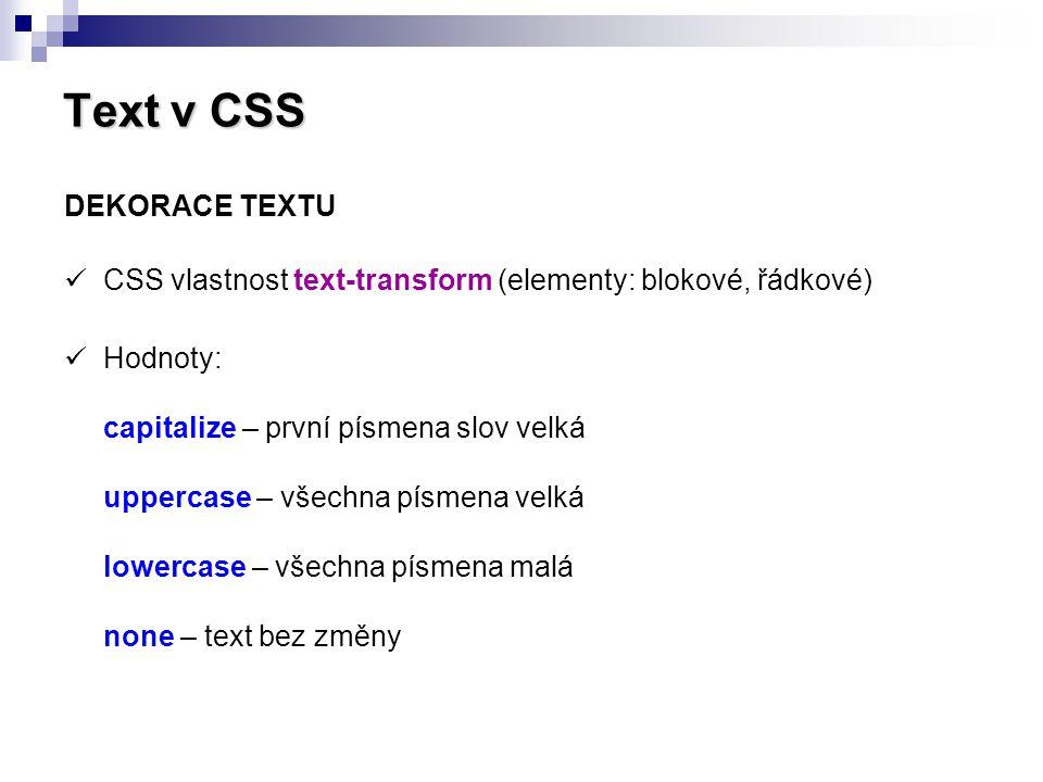 Text v CSS DEKORACE TEXTU
