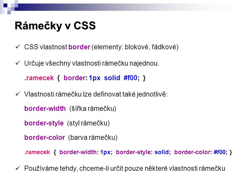 Rámečky v CSS CSS vlastnost border (elementy: blokové, řádkové)