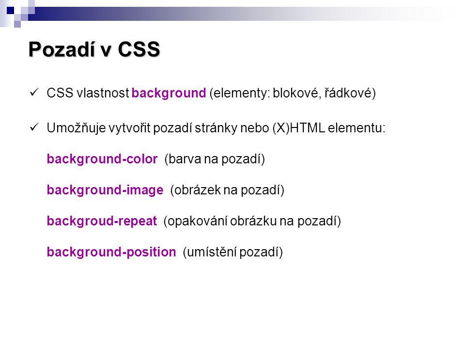 Pozadí v CSS CSS vlastnost background (elementy: blokové, řádkové)