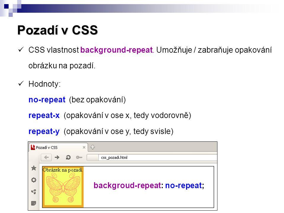 Pozadí v CSS CSS vlastnost background-repeat. Umožňuje / zabraňuje opakování obrázku na pozadí.