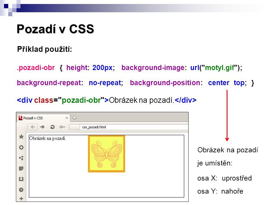 Pozadí v CSS Příklad použití: