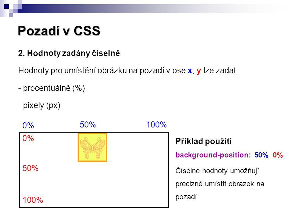 Pozadí v CSS 2. Hodnoty zadány číselně Hodnoty pro umístění obrázku na pozadí v ose x, y lze zadat: - procentuálně (%) - pixely (px)