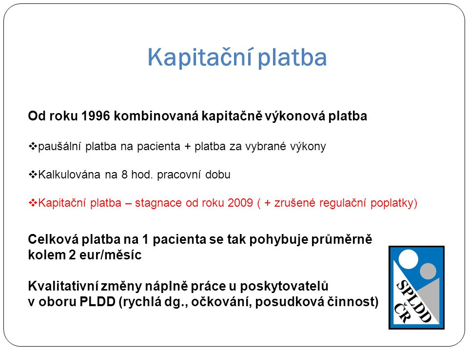 Kapitační platba Od roku 1996 kombinovaná kapitačně výkonová platba