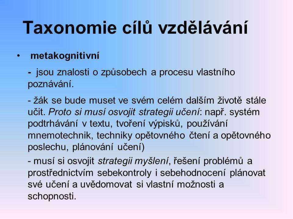 Taxonomie cílů vzdělávání