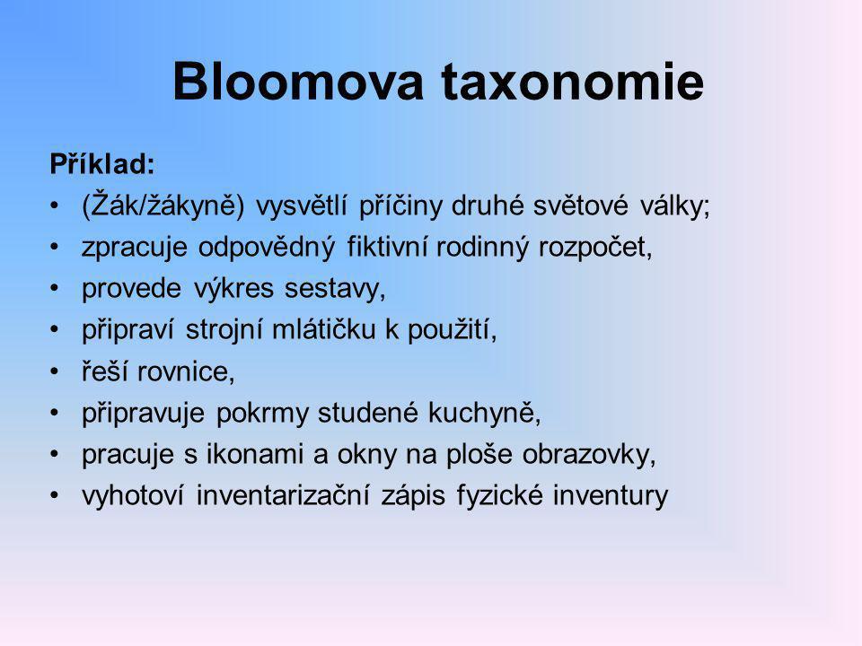 Bloomova taxonomie Příklad: