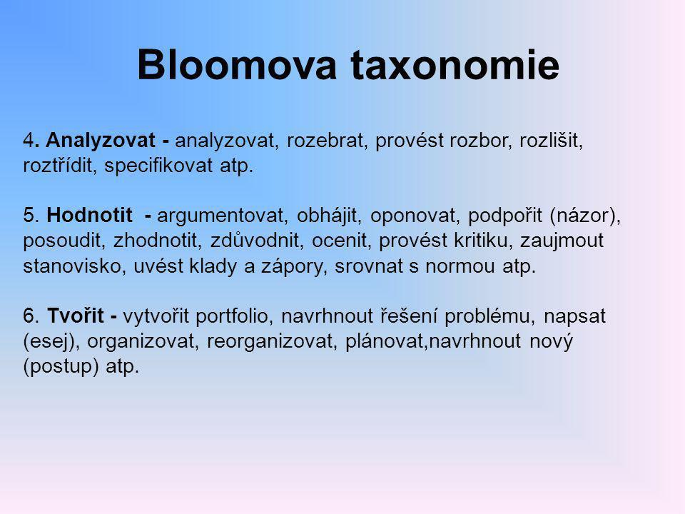 Bloomova taxonomie 4. Analyzovat - analyzovat, rozebrat, provést rozbor, rozlišit, roztřídit, specifikovat atp.
