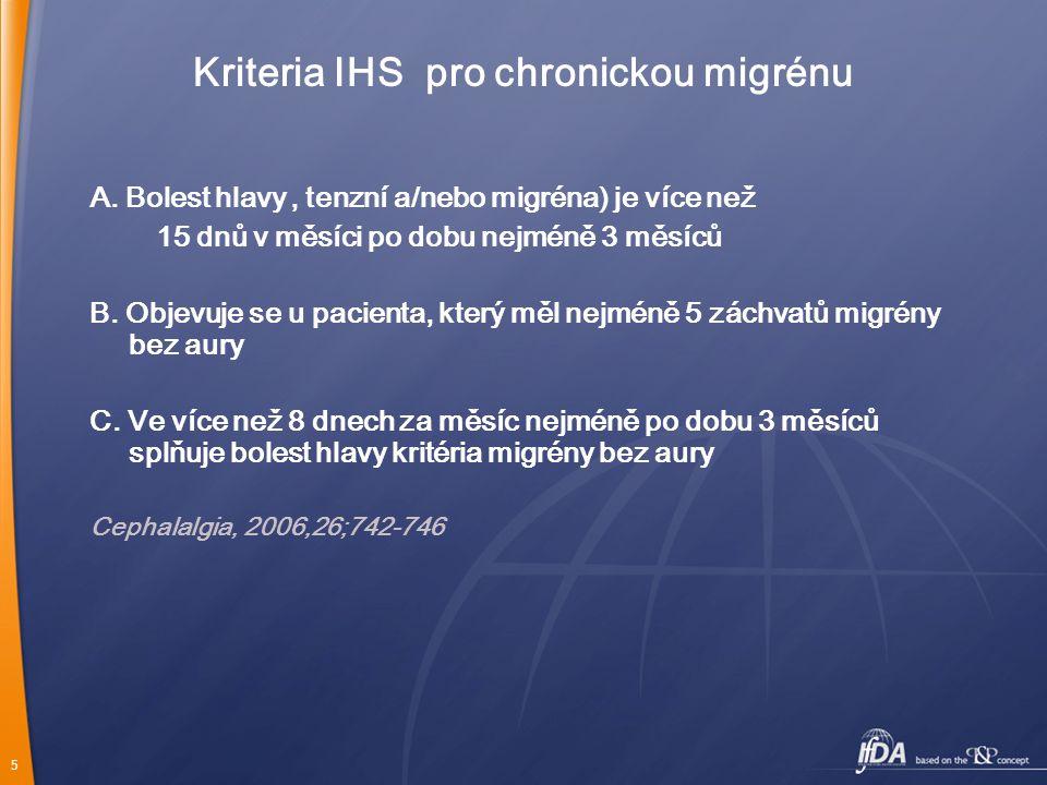 Kriteria IHS pro chronickou migrénu