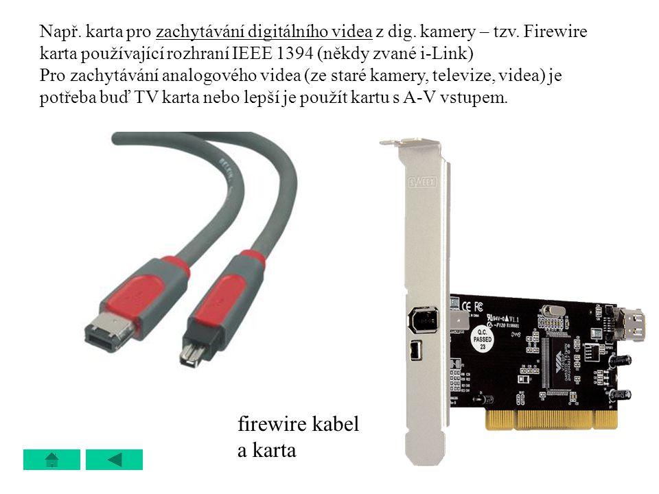 Např. karta pro zachytávání digitálního videa z dig. kamery – tzv