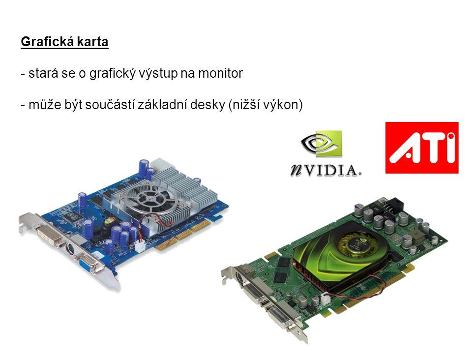 Grafická karta stará se o grafický výstup na monitor.