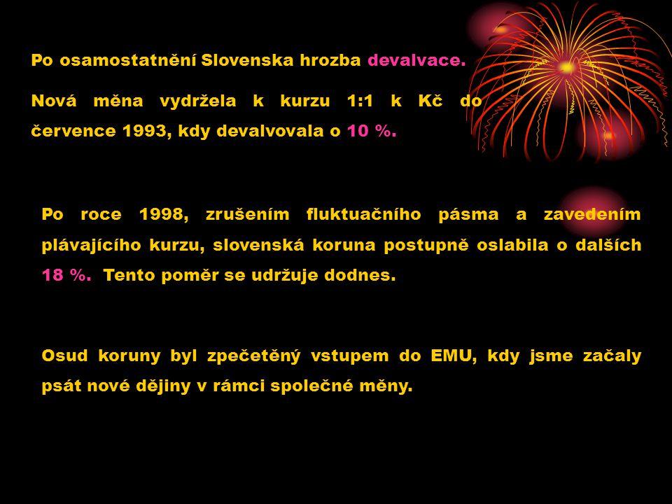 Po osamostatnění Slovenska hrozba devalvace.