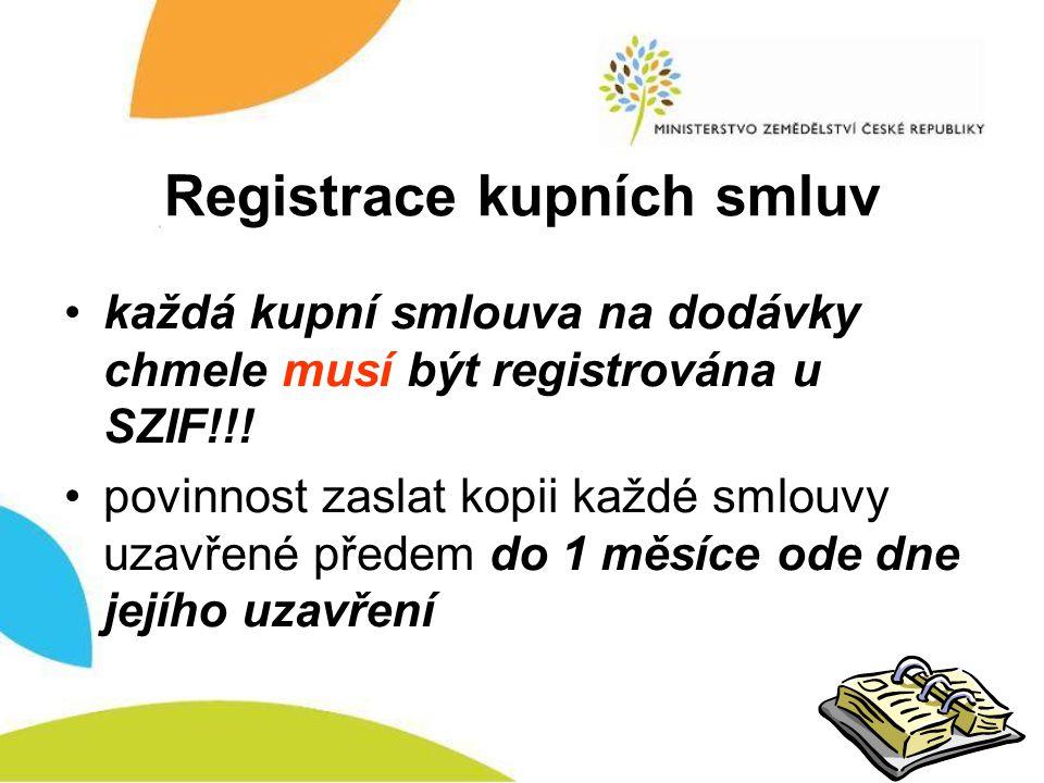 Registrace kupních smluv